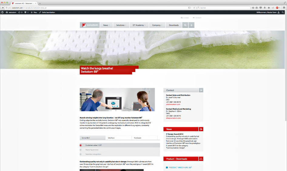 Swisstom Corporate Website: Produktseite